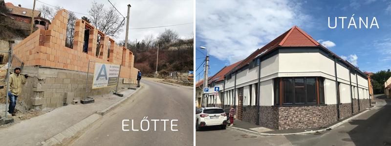 Eger Vécsey Sándor utca felújítás alatt és felújítva